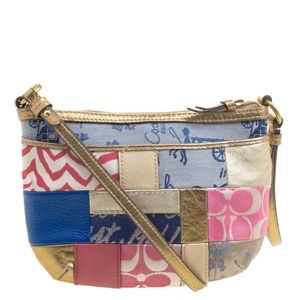 Coach patchwork crossbody with gold leather trim